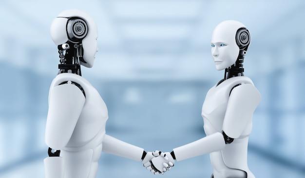 Stretta di mano del robot umanoide di rendering 3d per collaborare con la tecnologia del futuro