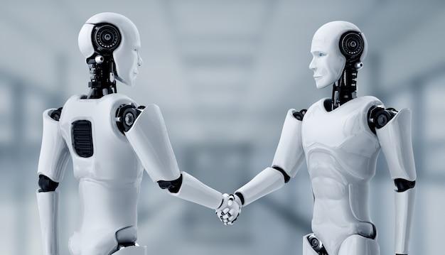 Stretta di mano del robot umanoide di rendering 3d per collaborare alla tecnologia del futuro