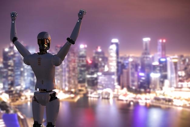 Robot umanoide di rendering 3d con le mani fino al cielo