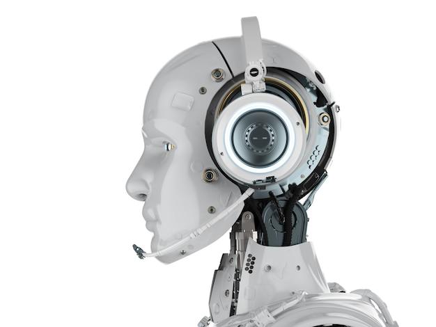 3d rendering robot umanoide con auricolare su sfondo bianco