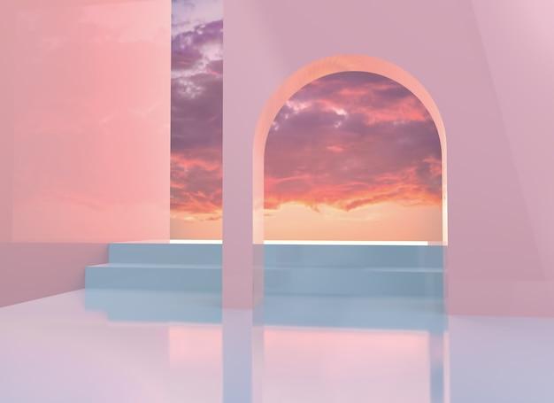 Illustrazione di rendering 3d sfondo con elementi architettonici ampia finestra con vista sul cielo
