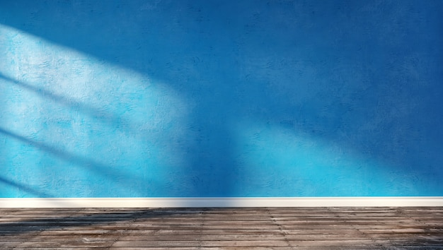 Illustrazione della rappresentazione 3d di grande stanza moderna con la parete blu del gesso, il pavimento di legno e lo zoccolo bianco. interno con luce solare intensa.