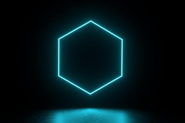 Illustrazione di rendering 3d. futuristico sci fi buio stanza vuota con neon incandescente.
