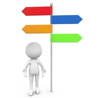 Rendering 3d illustrazione di un'icona umana in piedi sotto i segni della freccia colorata