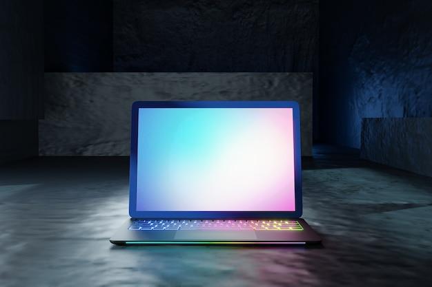 Illustrazione di rendering 3d. computer portatile con schermo e tastiera colorata posto su sfondo grigio trama. immagine per la presentazione.
