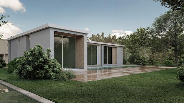 Illustrazione di rendering 3d della casa moderna