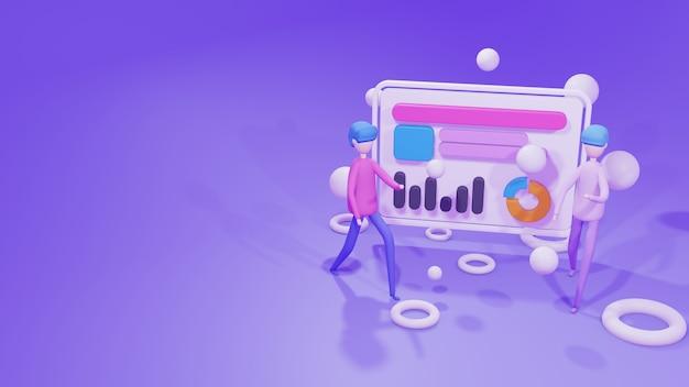 Modello di sito web di illustrazione di rendering 3d