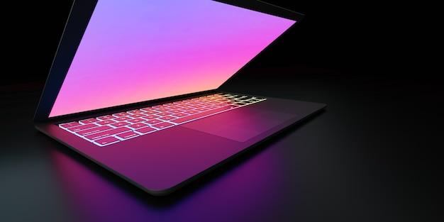Illustrazione di rendering 3d. ampio angolo di computer portatile con schermo colorato e tastiera posto in camera oscura e illuminazione viola. immagine per la presentazione.