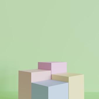 Rendering 3d, l'immagine di sfondo astratto podio mock-up. lo sfondo del podio pastello può essere utilizzato come sfondo per il design di banner di cosmetici o di qualsiasi prodotto