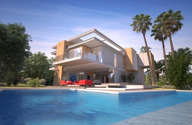 Rendering 3d di un'imponente villa moderna con piscina e giardino esotico