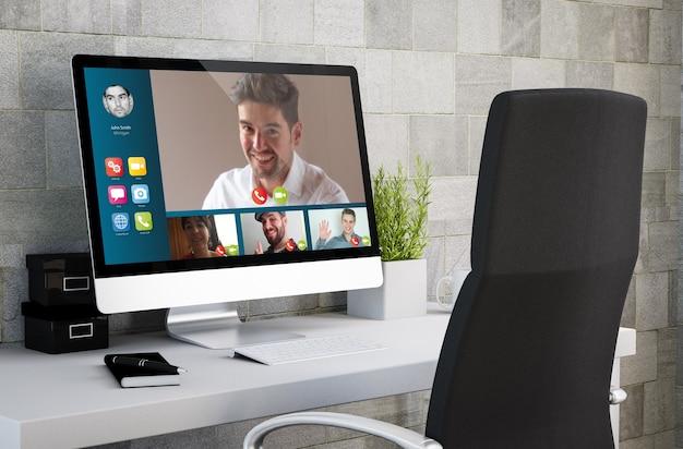 Rendering 3d dell'area di lavoro industriale che mostra videoconferenze sullo schermo del computer.