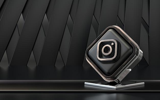 3d rendering icona instagram social media banner sfondo astratto scuro