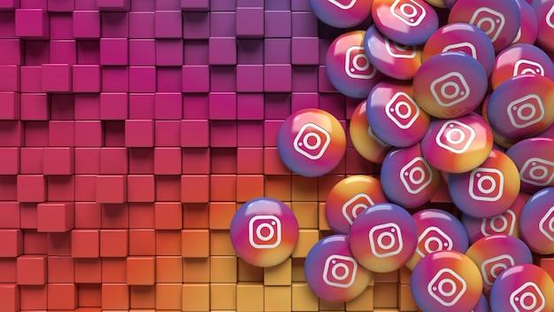 Rendering 3d di pillole di instagram su uno sfondo geometrico sfumato colorato