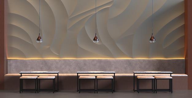 3d rendering interno di un bar ristorante con sedia da tavolo e sfondo di decorazione murale