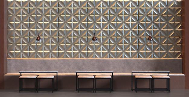3d rendering interno di un bar ristorante con tavolo sedia e decorazione del pannello a parete sfondo
