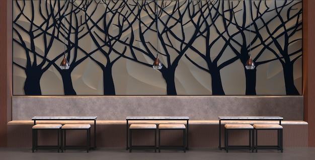 3d rendering interno di un bar ristorante con sedia da tavolo e decorazione dell'albero della parete sfondo