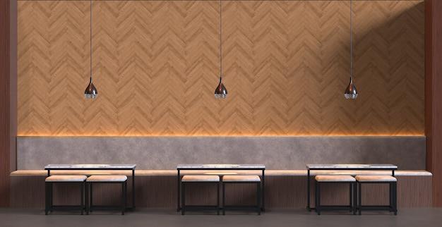3d rendering interno di un bar ristorante con tavolo sedia e parete decorazione in legno sfondo