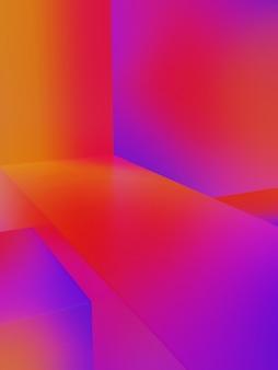 Rendering 3d iridescente o sfumatura di colore rosso arancio e viola studio shot prodotto sfondo per prodotti elettronici