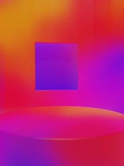 Rendering 3d iridescente o sfumatura di colore rosso arancio e viola studio shot esposizione del prodotto