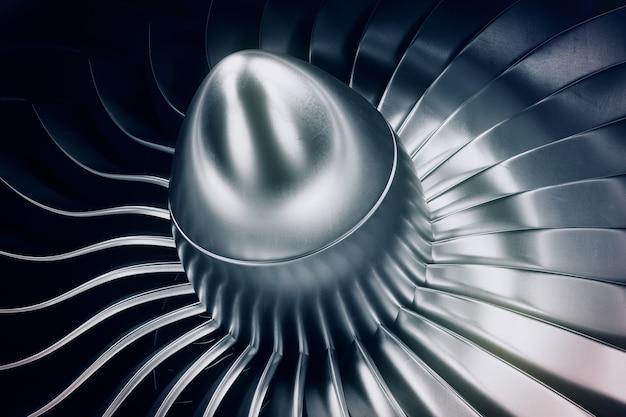 Motore a reazione della rappresentazione 3d, pale del motore a propulsione di vista del primo piano. tinta blu.