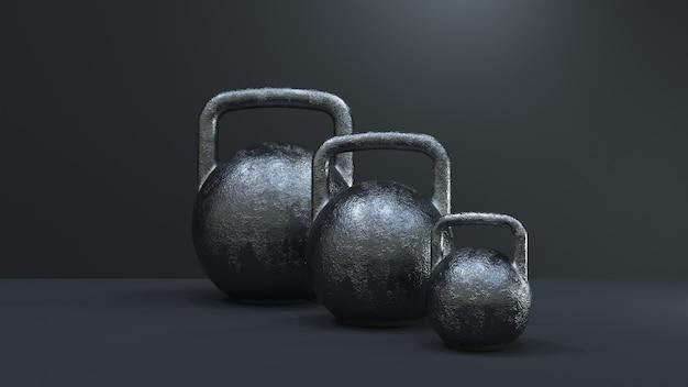 Rendering 3d. kettlebell sul nero. attrezzature per il fitness