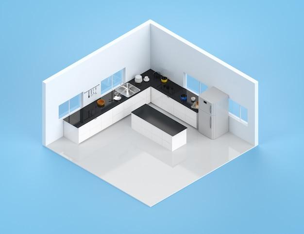 Interiore della cucina di rendering 3d con bancone e frigorifero isometrico