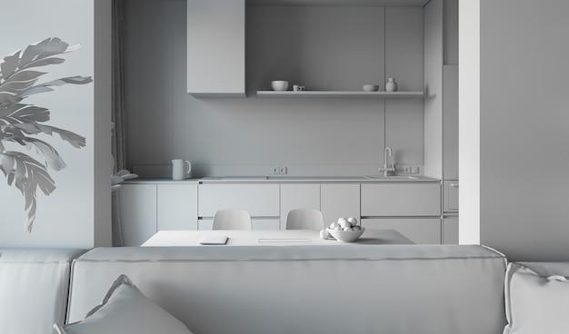 Rendering 3d di cucina con soggiorno.
