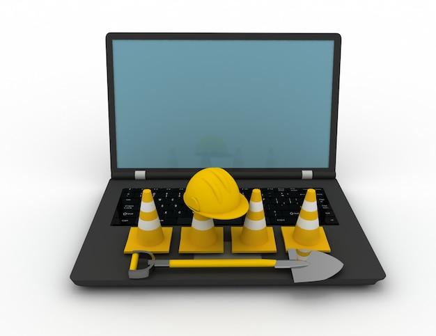Computer portatile della rappresentazione 3d con i coni di traffico. 3d reso illustrazione