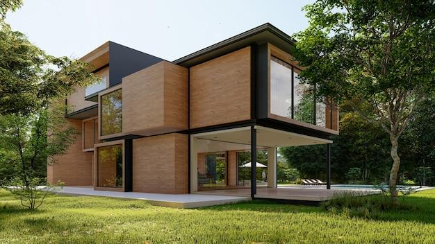 Rendering 3d di una grande casa moderna e contemporanea in legno e cemento