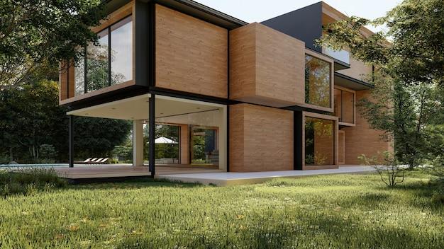 Rendering 3d di una grande casa moderna e contemporanea in legno e cemento Foto Premium