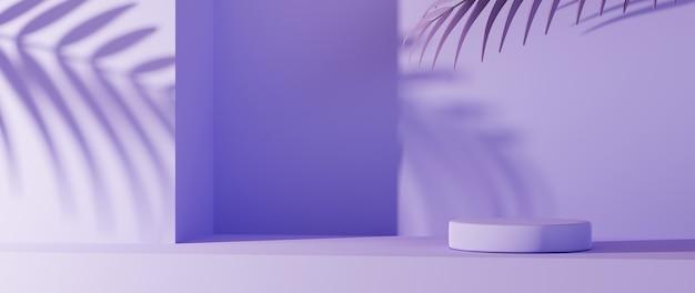 Rendering 3d del podio viola chiaro per la visualizzazione di prodotti su toni viola e sfondo con ombre fogliari. mockup per prodotto da esposizione.