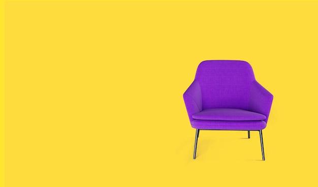 Rendering 3d della poltrona lilla su sfondo giallo.
