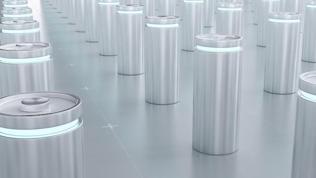 Rendering 3d della batteria agli ioni di litio in carica in fabbrica, le batterie agli ioni di litio forniscono la linea di produzione per il concetto di veicolo elettrico (ev), lo sfondo dell'illustrazione della tecnologia delle auto industriali