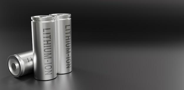 Rendering 3d della batteria agli ioni di litio, batterie agli ioni di litio che forniscono la produzione per il concetto di veicolo elettrico (ev), illustrazione della tecnologia delle auto industriali