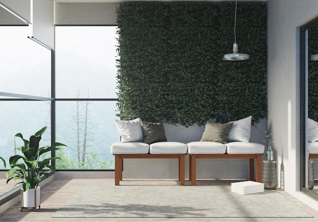 Rendering 3d della zona soggiorno semiall'aperto zona soggiorno della grande finestra di vetro e luce di casa