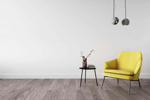Rendering 3d del soggiorno. colori dell'anno 2021. poltrona gialla vicino al muro bianco.
