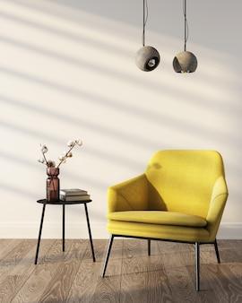 Rendering 3d del soggiorno. colori dell'anno 2021. poltrona gialla vicino al muro bianco. Foto Premium