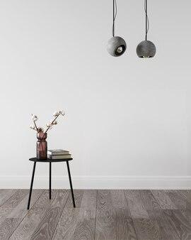 Rendering 3d di soggiorno con copia spazio sul muro bianco