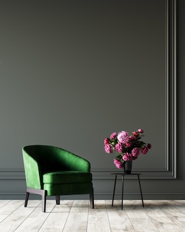Rendering 3d di soggiorno con poltrona verde e fiori rosa.
