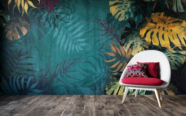 Rendering 3d di soggiorno con pareti tropicali.