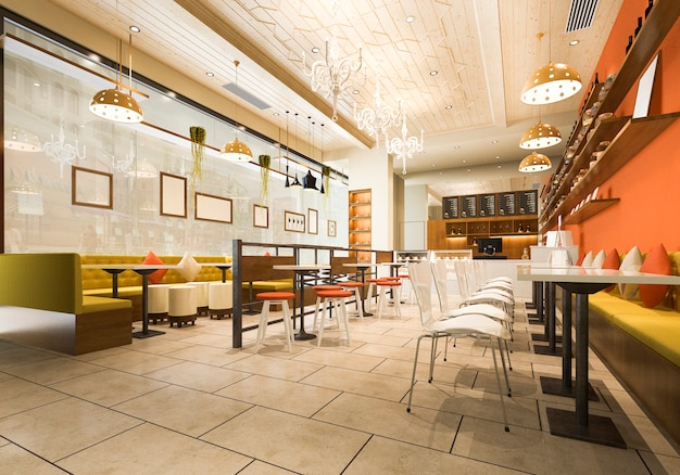 Loft di rendering 3d e reception dell'hotel di lusso e ristorante lounge bar