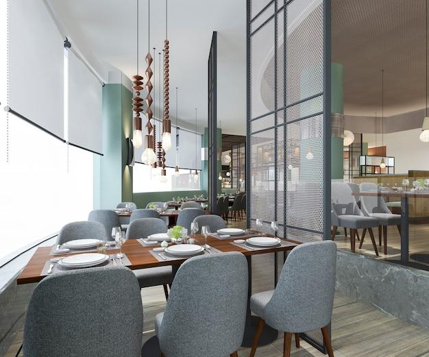 Loft di rendering 3d e reception dell'albergo di lusso e ristorante vintage lounge bar