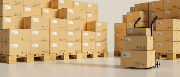 Rendering 3d, concetto logistico, scatole di cartone impilate nel magazzino di stoccaggio con un carrello, illustrazione 3d