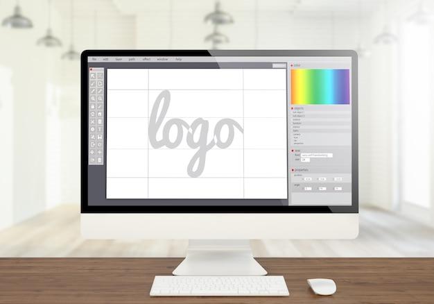 Rendering 3d del computer dello schermo di progettazione grafica del logo sul desktop