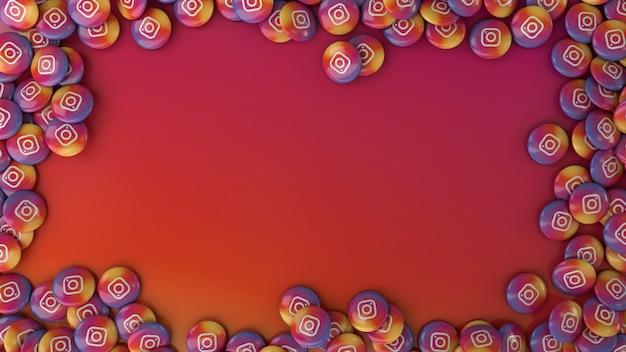 Rendering 3d di molte pillole lucide di instagram multicolor su sfondo colorato