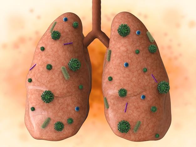 3d rendering malattia polmonare con cellule batteriche