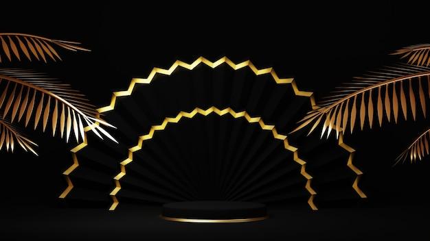 Rendering 3d di lussuoso podio dorato con foglie di palma d'oro su sfondo nero