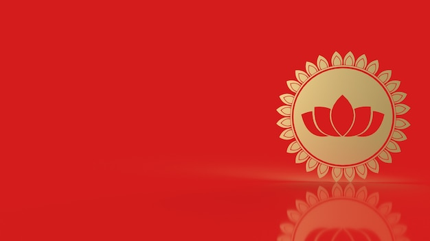 Simbolo di loto d'oro di lusso rendering 3d isolato su sfondo rosso con spazio di copia