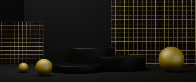 Rendering 3d di motivi e palline in oro di lusso con podi neri su sfondo nero