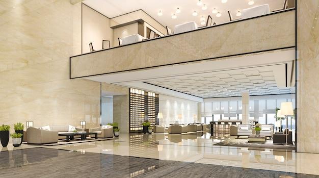 Sala di ricevimento dell'albergo di lusso della rappresentazione 3d e ristorante del salotto